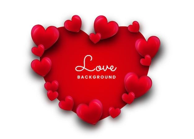 Miłość lub romantyczne tło w kształcie serca