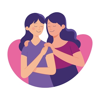 Miłość między siostrą, starsza siostra miłość jej młodsza siostra, więź miłości rodzinnej