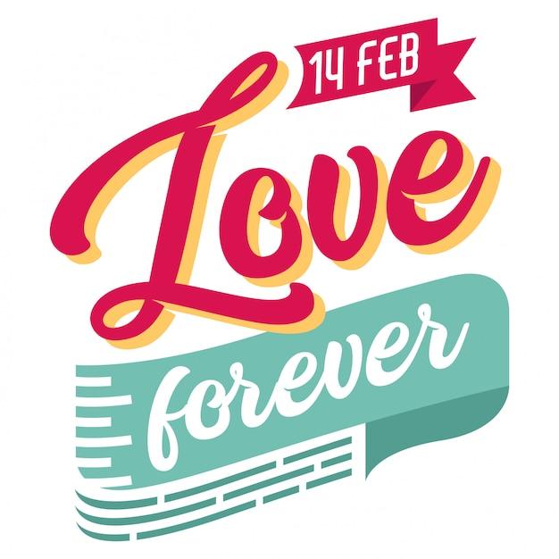 Miłość na zawsze ręcznie rysowane napis w stylu vintage