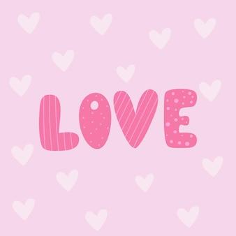 Miłość napis na różowym tle z serca kartkę z życzeniami świątecznymi na walentynki
