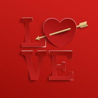 Miłość. napis odręczny. typ papieru z sercem i strzałką na czerwonym tle.