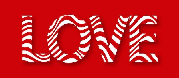 Miłość. napis z czerwonym falistym i cień wektorem.