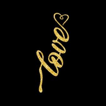 Miłość napis ze złotym brokatem na białym tle