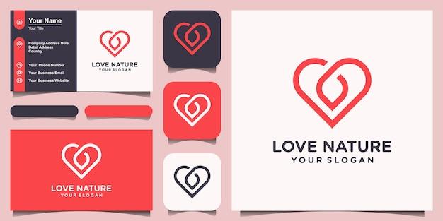 Miłość naturalna lub serce łączy liść. styl grafiki liniowej. projekt logo i wizytówki.
