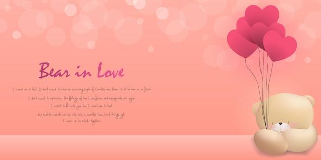 Miłość niedźwiedzia szczęśliwy walentynki różowy tło