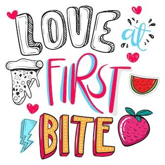 Miłość od pierwszego kęsa . cytat żywnościowy