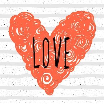 Miłość. odręczny napis i ręcznie robione serce do projektowania miłości romantycznej karty, zaproszenia, koszulki, książki, banera, plakatu, albumu, albumu itp.