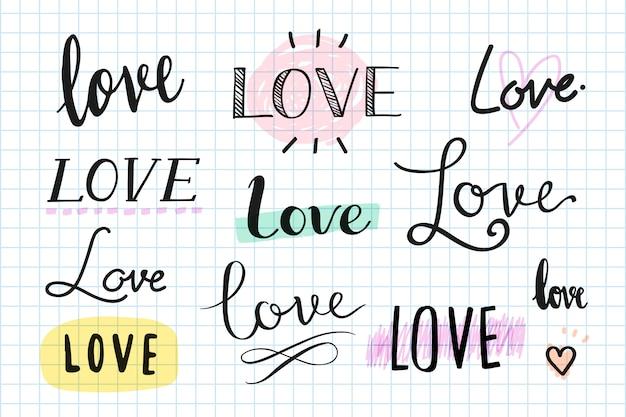 Miłość odręczny zestaw typografii