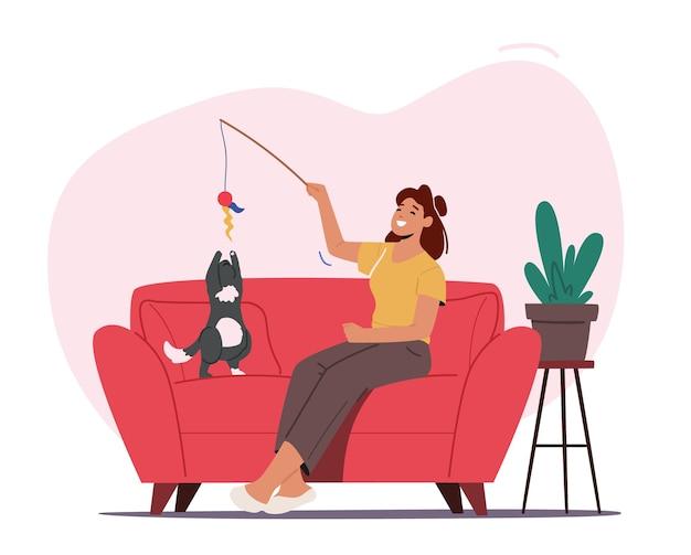 Miłość, opieka nad zwierzętami, kobieta i koncepcja zwierząt domowych