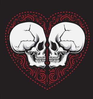 Miłość ozdoba czaszki