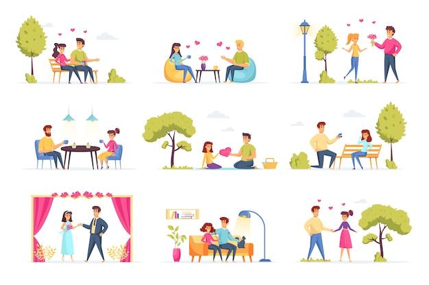 Miłość para kolekcji ludzi znaków