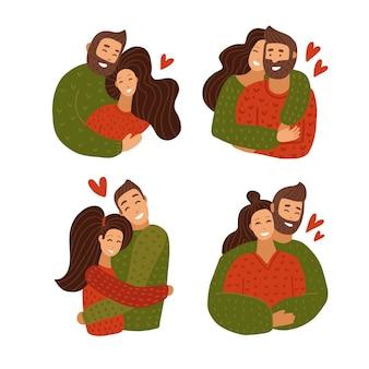 Miłość para przytulanie zestaw znaków. szczęśliwa rocznica związku kochanka.