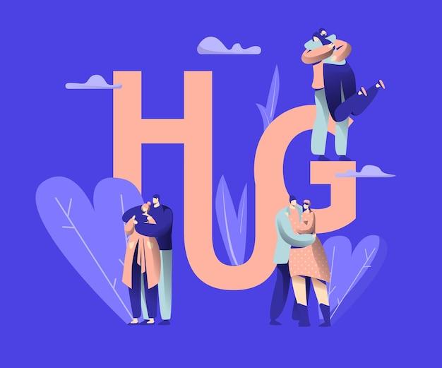 Miłość para znaków randki hug typografia banner.