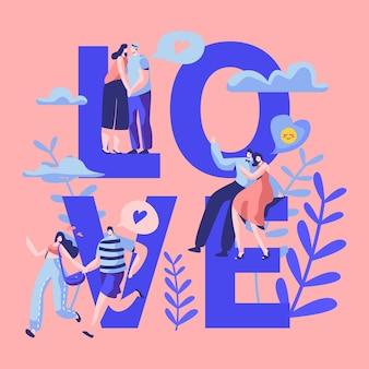 Miłość para znaków randki typografia banner.