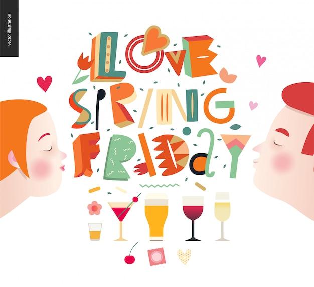Miłość piątek wiosna - kompozycja liter