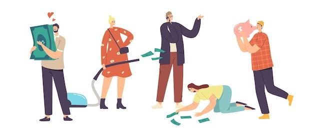Miłość pieniądze, chciwość, koncepcja chciwości. chciwe postacie męskie i żeńskie podekscytowane zdobywaniem pieniędzy, przytulanie skarbonki i banknotów dolarowych, kobieta interesu z odkurzaczem. ilustracja wektorowa kreskówka ludzie