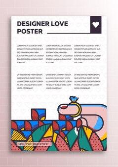 Miłość plakat z elementami stylu płaskiego