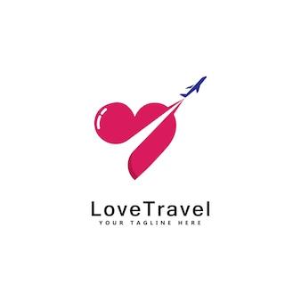 Miłość podróż logo szablon projektu wektor godło projekt koncepcji kreatywny symbol ikona
