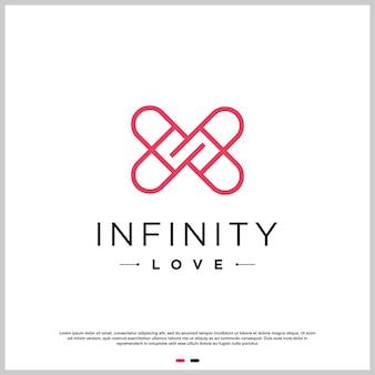 Miłość projekt logo z koncepcją linii nieskończoności premium wektorów