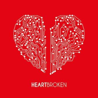 Miłość projekt na czerwonym tle