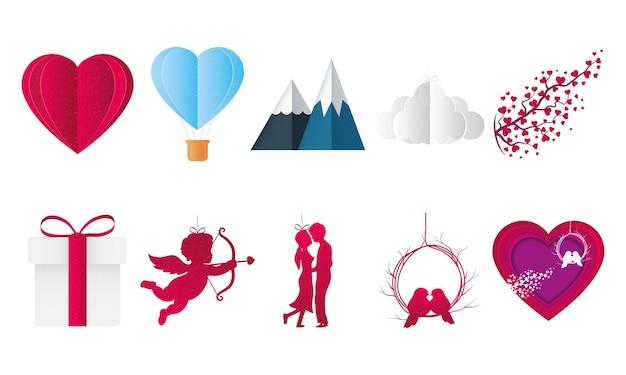 Miłość projekt pakietu ikon z pasją i romantyczny motyw ilustracji wektorowych