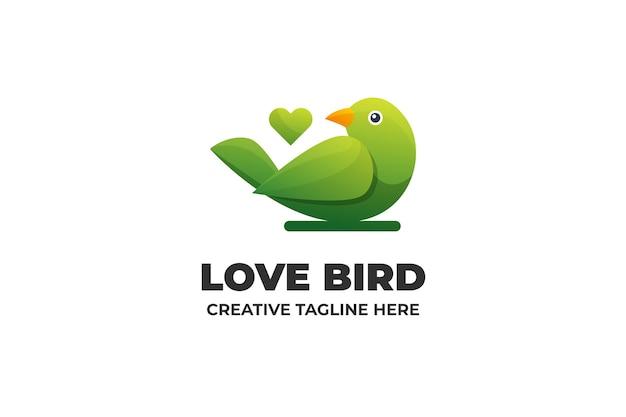Miłość ptak gradient logo biznes