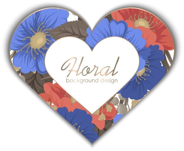 Miłość rama kwiatowa
