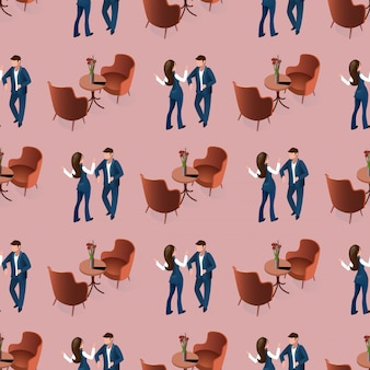Miłość randki para w restauracji wzór