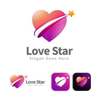 Miłość serce gwiazda logo koncepcja szablon projektu