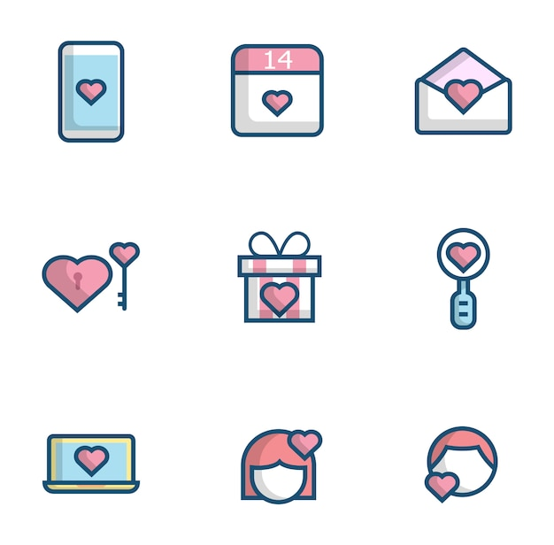 Miłość, serce, płaski zestaw ikon
