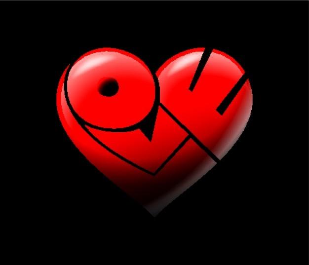 Miłość serce słowo czerwone litery