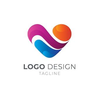 Miłość / serce z koncepcją logo fali