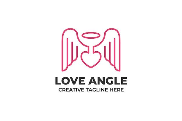 Miłość skrzydło anioł minimalistyczne logo