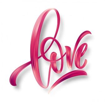 Miłość słowo ręcznie rysowane napis.