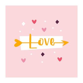 Miłość. strzała amora z napisem miłość.