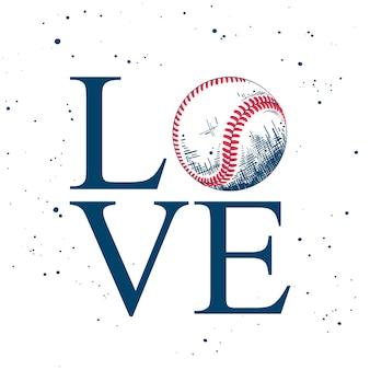 Miłość. szkic piłki baseballowej z typografią