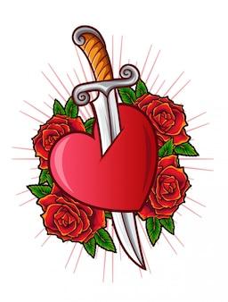 Miłość sztylet wektor