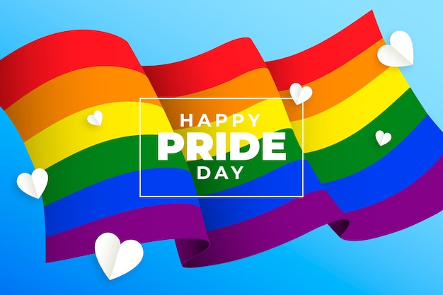 Miłość to flaga i serce dnia dumy miłości