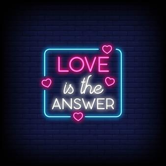 Miłość to odpowiedź na plakat w neonowym stylu.