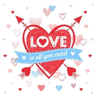 Miłość to wszystko, czego potrzebujesz - kartka z życzeniami z różnymi sercami i strzałami. romantyczna ilustracja idealna do kart okolicznościowych, wydruków, ulotek, plakatów, zaproszeń świątecznych i nie tylko.