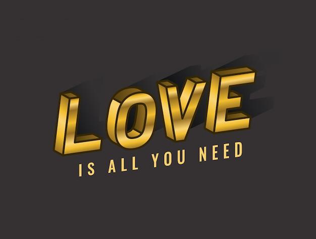 Miłość to wszystko, czego potrzebujesz, projekt napisów, typografia retro i ilustracja komiksowa