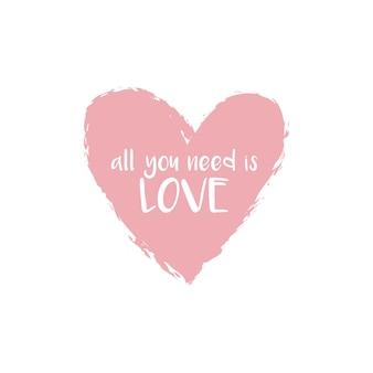 Miłość typografia słowo sztuki w różowym pastelowym kształcie serca ilustracja wektor swobodny