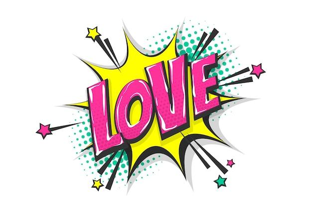 Miłość uczucia wow komiks tekst dymek kolorowy efekt dźwiękowy w stylu pop-art
