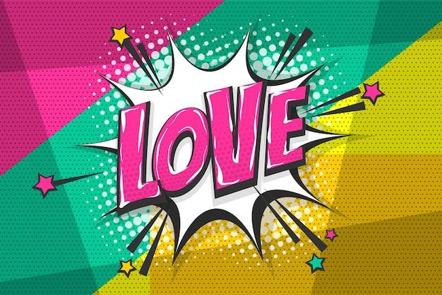 Miłość uczucia wow komiks tekst kolekcja efekty dźwiękowe styl pop-art wektor dymek