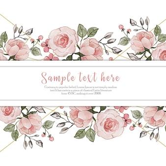 Miłość valentine akwarela kwiatowy ramki