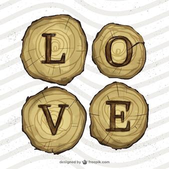 Miłość w drewnianych plastrów