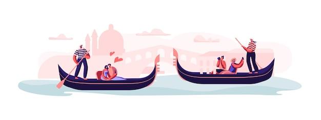 Miłość w wenecji. szczęśliwe kochające się pary siedzące w gondolach z gondolierami pływające na ilustracji koncepcja kanału