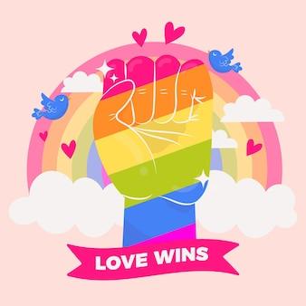 Miłość wygrywa z ilustracją tęczowej pięści