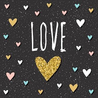 Miłość. wzór napisu odręcznego. doodle cytat miłosny ręcznie i ręcznie rysowane serce na projekt t shirt, karta ślubna, zaproszenia ślubne, walentynkowy album itp. złoto tekstury.