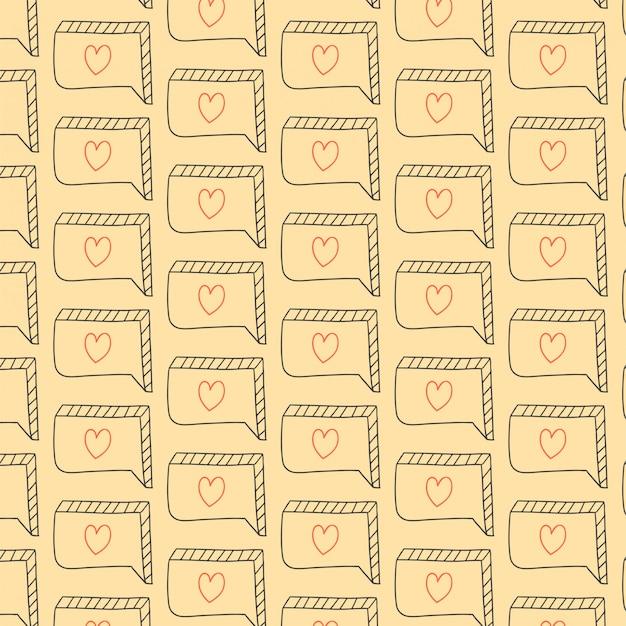 Miłość wzór z ręcznie rysowane bańki czat